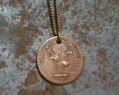 copper deer coin necklace - upcycled from circulated coal mining scrip from the 1910's