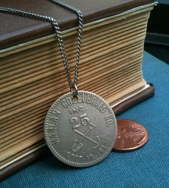 silver coal miner's tools coin necklace - upcycled circulated scrip