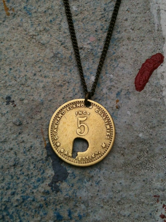 vintage copper small initial letter P coin necklace - upcycled from circulated coal mining scrip from the 1910's