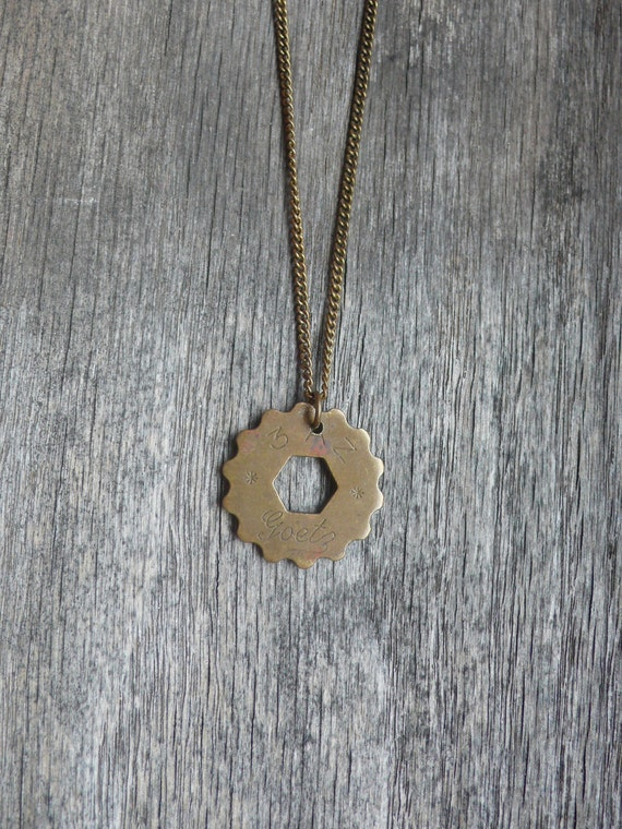 hexagon cog gear telephone token necklace - circulated & upcycled cut out goetz