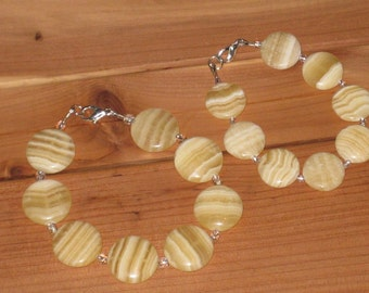 Yellow Calcite Mother-Daughter Bracelets (B1032)