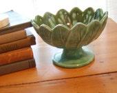 Pretty Minty Green Bowl on Pedestal with Leaf Motif