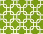 Green and White Lattice Stretched Fabric Textile Wall Art