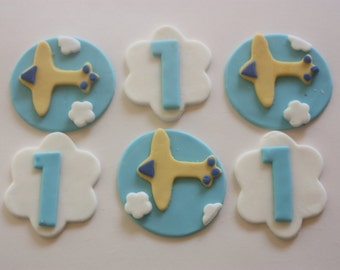 12 Fondant cupcake toppers--airplanes, clouds and age
