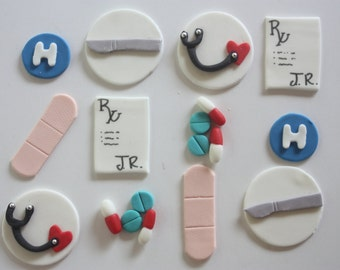12 Fondant cupcake toppers--doctor, surgeon, medical graduation