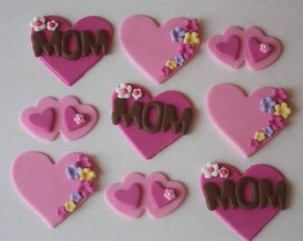 12 Fondant cupcake toppers--Mothers Day, hearts, flowers
