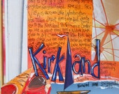 Northwest Gifts,Washington Gifts, Wall Art,KIRKLAND, WASHINGTON Puget Sound, Limited Edition,Mixed Media Print by Seattle Artist  Mary Klump