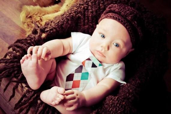 Baby Boy Tie Onesie Bodysuit.....Grey Argyle Tie Onesie....Newborn, Baby,Toddler...Baby Shower Gift, Photo Prop