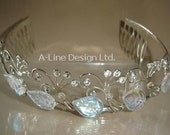 Leaf and rhinestone tiara T1008