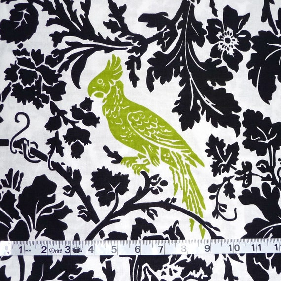 "SALE 1 Yard ""Barber"" Bird Fabric in Black and Chartreuse"