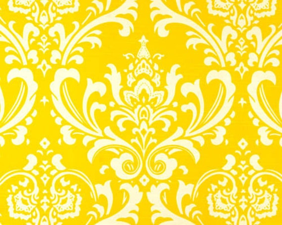 "1 Yard ""Ozborne"" Fabric in Corn Yellow, Damask, Cotton Slub, Home Dec Fabric"