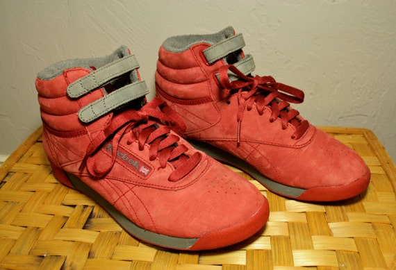 Women's Vintage Reebok Classic Red and Grey Laced Velcro Shoes