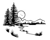 Landscape with lake and trees // FLONZ clear acrylic rubber stamp
