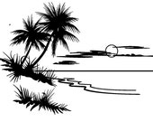 Landscape with moonlight desert and palm // FLONZ clear acrylic rubber stamp