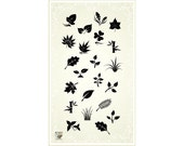 Small leaves branches grass flowers - clear stamp set 030 // Flonz clear stamps