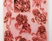 """Anime Neko Girls / Clear stamps large sheet (7""""x10"""") UM FLONZ 403-96"""