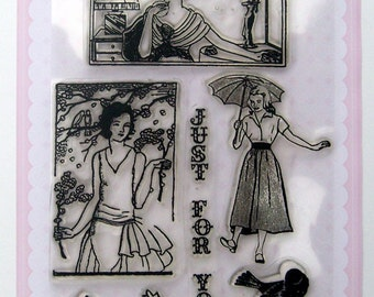 Cute Girl - vintage series - set 17 - Flonz clear stamps