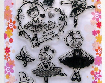 Ballet - kids and chibis series - set 9 - Flonz clear stamps