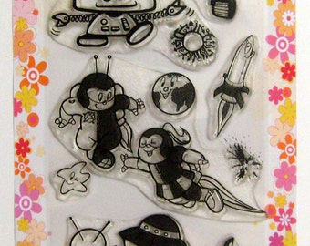 Aliens and astronauts - SciFi series - set 01 - Flonz clear stamps