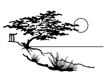 Landscape with moonlight sakura and lake // FLONZ clear acrylic rubber stamp