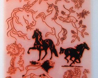 Horse Unicorn Lion Pegasus Clear stamps lot. UM FLONZ 403-06