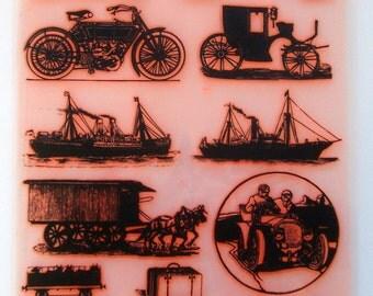 """Vintage Transport Engraving / Clear stamps large sheet (7""""x10"""") UM FLONZ 403-37"""