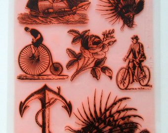 "Vintage Engraving Sailship Anchor Lionfish / Clear stamps large sheet (7""x10"") UM FLONZ 403-40-2"