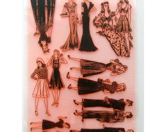 "Vintage Engraving Fashion Girl Teen Fifties / clr stamps large sheet (7""x10"") UM FLONZ 403-45"