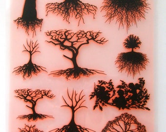 """Tree with Roots and Foliage Silhouette / Clear stamps large sheet (7""""x10"""") UM FLONZ 403-61"""
