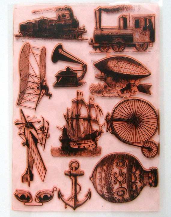 Vintage Engraving Sailship Antique Clear stamps lot. UM FLONZ 403-21