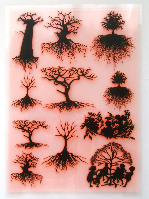 Tree with roots and foliage silhouette clear stamps large for Death tree tattoo