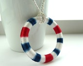 Nautical ring necklace - Large open Dorset button ring, white blue red on silver chain, similar to crochet tatting or macrame