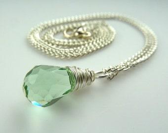 green swarovski necklace -- Pale green swarovski crystal tear drop silver wire wrapped pendant necklace