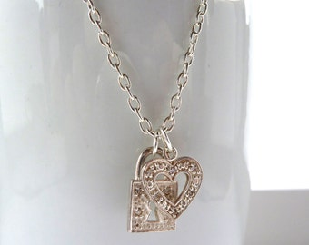 silver charm necklace -- Sterling silver heart and lock on silver chain with diamante detailing, rhinestone