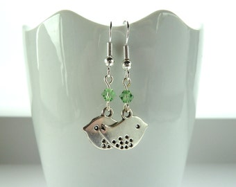 Silver bird earrings with light green swarovski crystal drop earings on sterling silver hooks, cute birdie