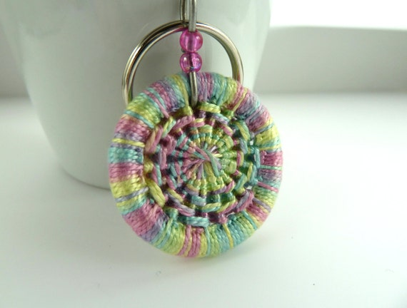 key ring charm -- Dorset button pastel key ring or bag and purse charm in multi pastel shades