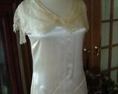 1920s ivory satin vintage wedding gown