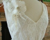 Wedding Gown 1930s Inspired Lace bias cut bridal gown flowers made of feathers rhinestones