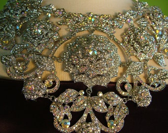 Bridal BLING Rhinestone necklace for Weddings red carpet Rock and Roll