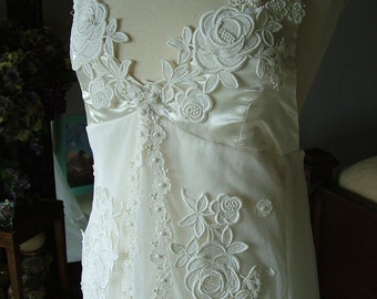 Wedding Dress Vintage Wedding Gown Tulle with Appliques 1970s restyled jacket and dress retro Hippie chic