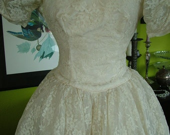 1950s Wedding Dress lace with tulle tea length retro destination wedding garden wedding