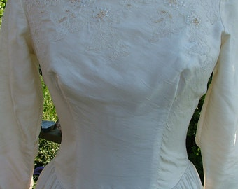 Vintage wedding dress 1950s 1940s silk tafetta with alencon lace beads sequins