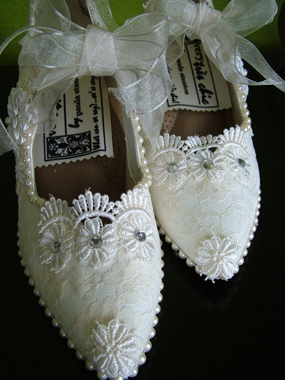 Handmade Cinderella Lace Pearl Wedding Shoes Mary Jane Style 1920s style size 8
