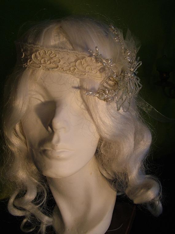 1920s Vintage Inspired Handmade Wedding headpiece tiara headband for Flapper brides