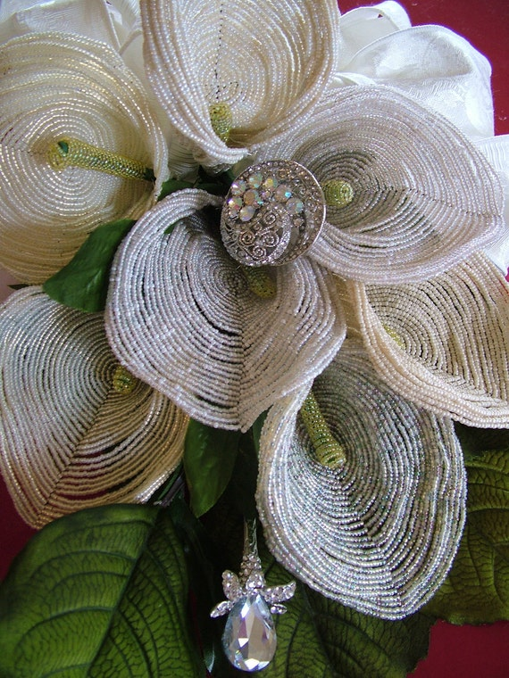 Wedding Bouquet handmade French beaded flowers and rhinestone brooches heirloom forever