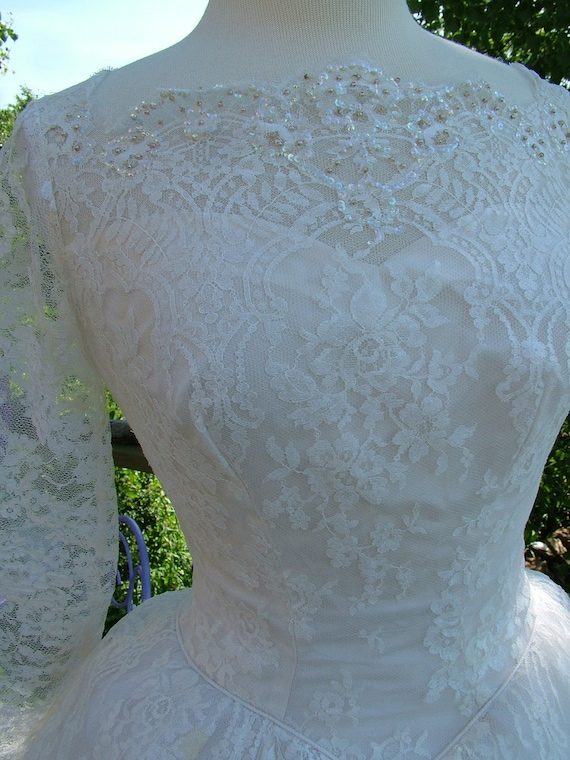 Vintage 1950s ballgown with stunning chantilly lace sequins tulle ruffled made of romance