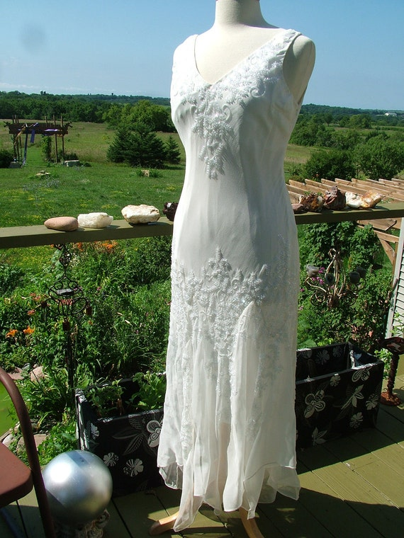 Vintage Style Wedding Dresses, Vintage Inspired Wedding Gowns Wedding dress 1920s vintage inspired white with crystal beadwork sequins flutter skirt flapper gown retroWedding dress 1920s vintage inspired white with crystal beadwork sequins flutter skirt flapper gown retro $435.00 AT vintagedancer.com