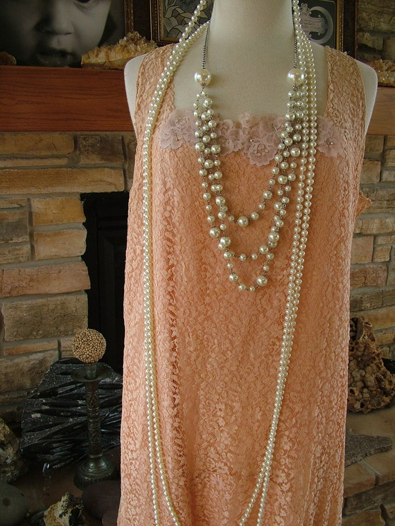 1920s Vintage peach lace wedding dress flapper gown great gadsby reception dress