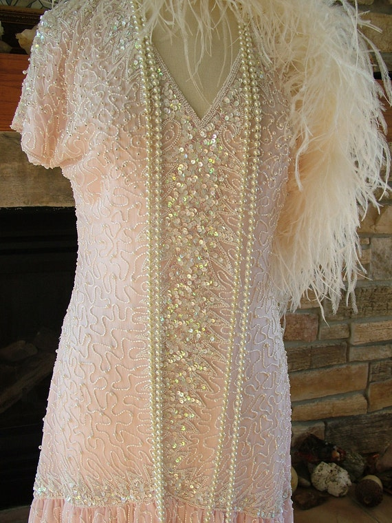 vintage 1920s style beaded dress pink ivory white pearls