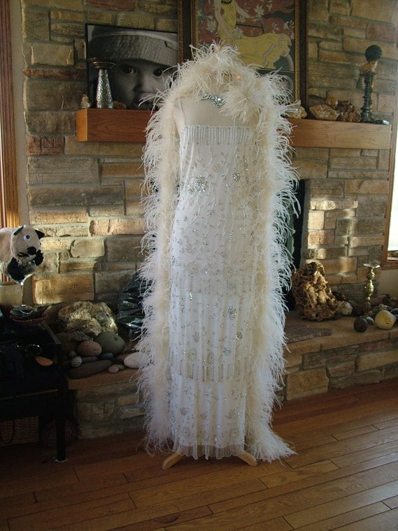 1920s Downton Abbey Boardwalk Empire Vintage Inspired Wedding dress New years Eve gown beaded flapper dress 3 layers